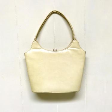 Vintage 1950s Ecru Leather Handbag, Mid-Century Top Handle Purse, Genuine Calfskin Bag by RanchQueenVintage