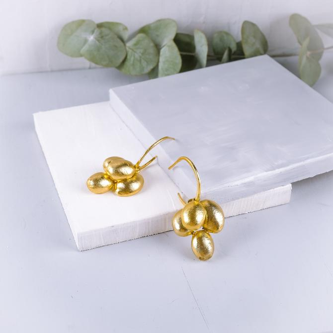 Gold Hoop Earring, Versatile Gold Earring, Versatile Gold Hoop Earring, Dangle Earring, Gold Dangle Earring, Gold Cluster Earring, Drop Hoop by OrlySegal