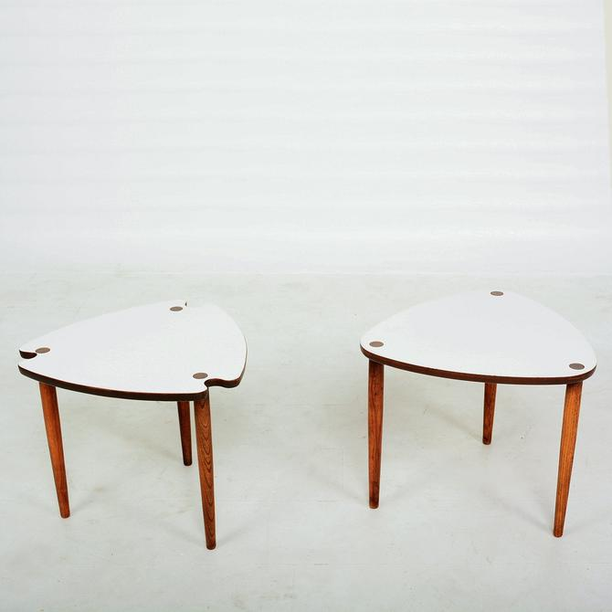 Style of Paul McCobb Triangular Nesting Tables Formica and Wood 1960s - 2 Sets by AMBIANIC