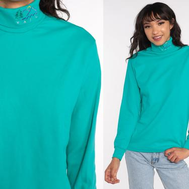 Vail Ski Resort Shirt Colorado Turtleneck Shirt 90s Turquoise Long Sleeve Shirt 1990s Tshirt Retro Tee Turtle neck Vintage Small by ShopExile