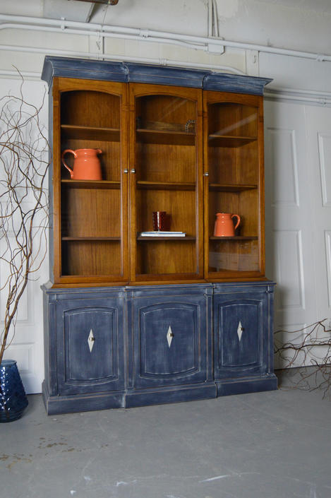 Refinished Drexel China Cabinet / Hutch - Painted in blue with dry brush technique. by UniquebyRuth