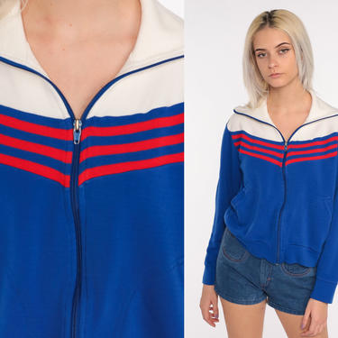 Retro Track Jacket Zip Up Sweatshirt 70s Striped Jacket 80s Sport Royal Blue Sweatshirt Retro Vintage Tracksuit White Red Small Medium by ShopExile