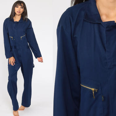 Navy Boiler Suit Small R 90s Coveralls Pants Jumpsuit Long sleeve Boilersuit Workwear Coverall Blue One Piece Work Wear Vintage Mechanic by ShopExile