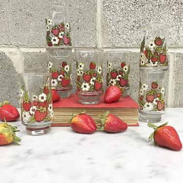 Vintage Juice Glass Set Retro 1950s Anchor Hocking + Triguba + Strawberry Print + Mid Century Modern + Set of 7 + Kitchen Decor + Glassware by RetrospectVintage215