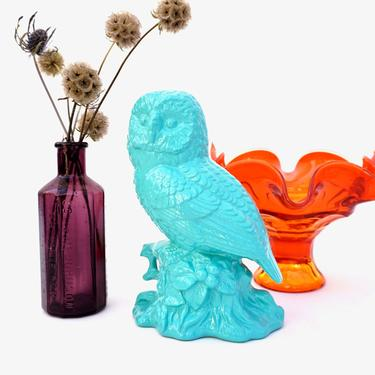 """7.5"""" Vintage Turquoise Owl Figurine   Mid-Century Modern Color Pop Owl Statue   Boho Nursery Decor   Made in Japan by ELECTRICmarigold"""