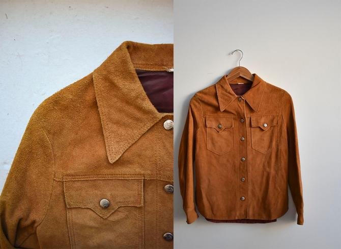1960s Brown Suede Snap Up Shirt by milkandice