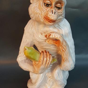 Ceramic Monkey Holding Banana Italy Hollywood Regency by MarquisModern
