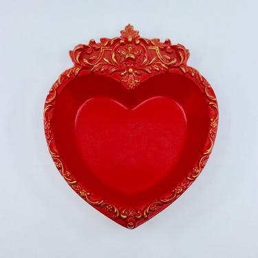 Vintage Red Heart Trinket Dish Decorative Ornate Red & Gold Heart Valentines Display Decor by AuntyEntitysVintage