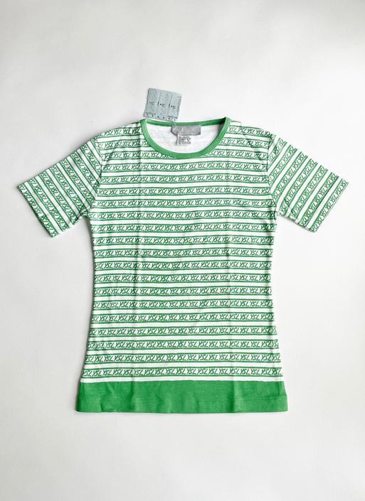1980s Green + White YSL Yves Saint Laurent T-Shirt NWT by hemlockvintage