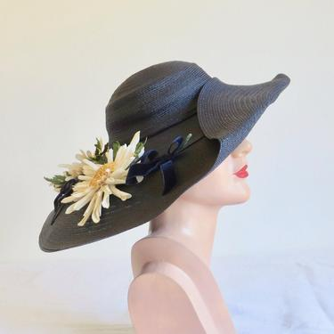 Vintage 1950's Navy Blue Very Wide Brim Sun Hat Large Daisies Velvet Ribbon Bows Portrait Picture Lily Street Miami Beach 50's Millinery by seekcollect