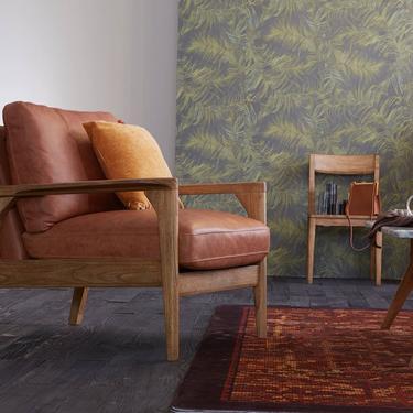 Mid Century Leather Armchair / Chair, Wood frame sofa, Mid Century sofa  - Claire Collection - Ekais by Ekais