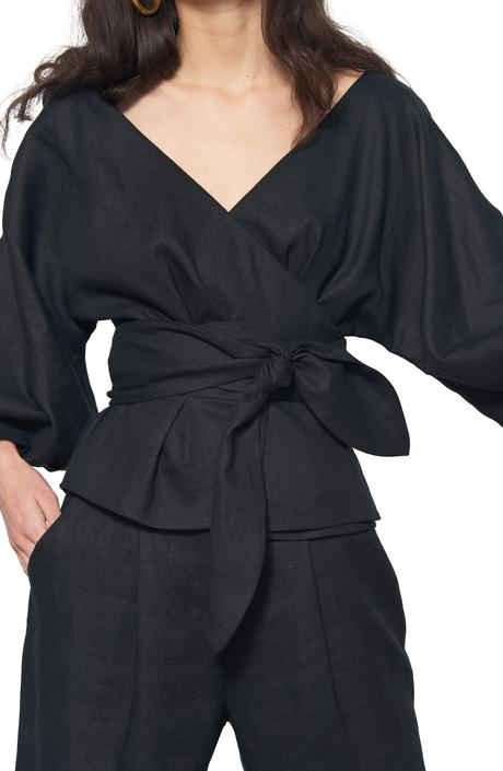 Libby Top in Black Woven Hemp