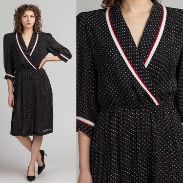 80s Polka Dot Midi Dress - Medium to Large   Vintage Black Striped V Neck Secretary Dress by FlyingAppleVintage