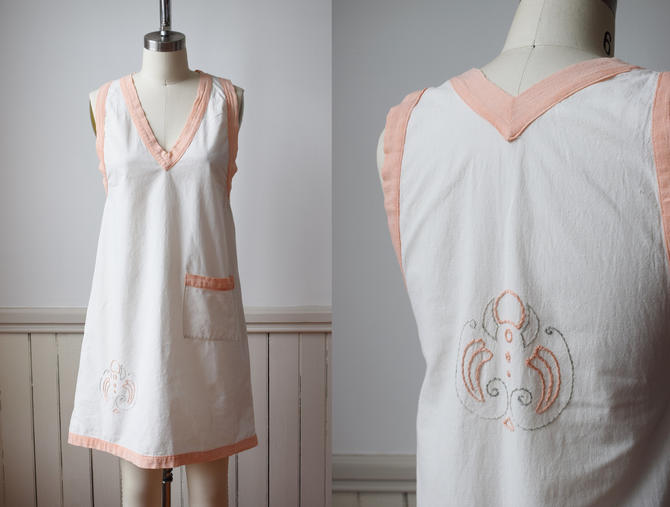 1920s Cotton Smock   Vintage 20s White and Pink Cotton Tunic Smock / Shift Dress with Arts & Crafts Embroidery   XS/S by wemcgee