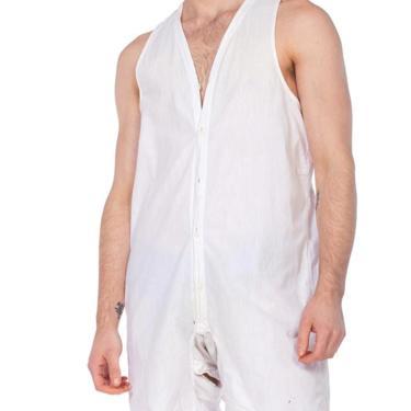 1920S White Organic Cotton Men's One Piece Union Suit Underwear / Pajamas by SHOPMORPHEW