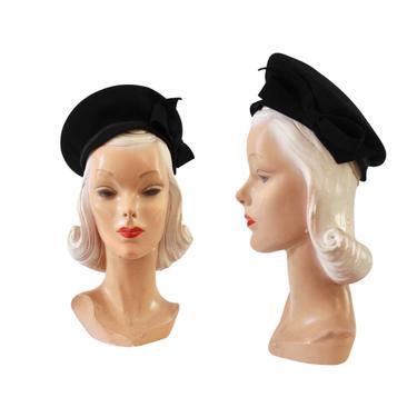 1940s Black Halo Hat - 1940s Black Halo Beret - 1940s Black Hat - 1940s Halo Hat - 1940s Black Beret - 1940s Womens Black Hat - Halo Hat by VeraciousVintageCo