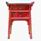 Chinese Distressed Red Point Edge Narrow Slim Foyer Side Table cs3943S