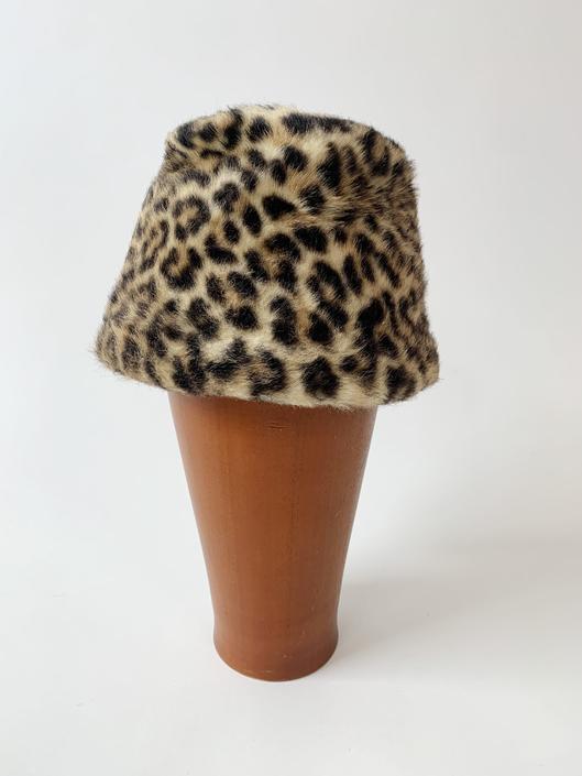Mid-Century Leopard Print Pill Box Hat