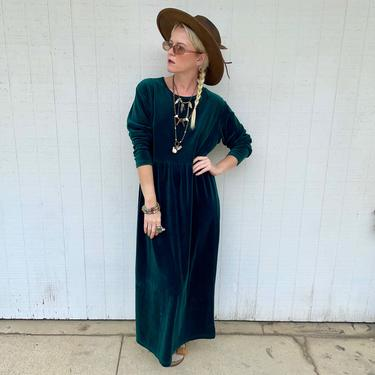 Vintage 90s Velour Long Sleeve Maxi Dress 1990s Clothing Grunge Clothes Loungewear by LoveItShop