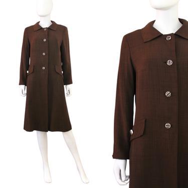 1960s Brown Coat - 1960s Brown Midi Coat - 1960s Brown Box Coat - Vintage Brown Midi Coat - 1960s Fall Coat - 1960s Coat   Size Small by VeraciousVintageCo
