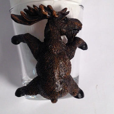 State of Maine Souvenir Shot Glass with Moose by estateoriginals