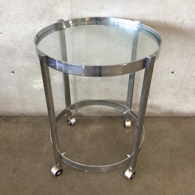 Vintage Chrome & Glass Rolling Bar Cart
