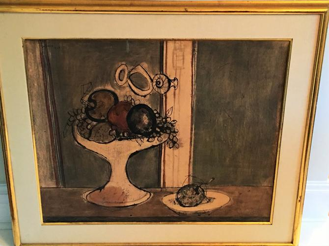 """Andres Segovia, """"The White Compote"""" Ink and Watercolor on Paper, 1951"""