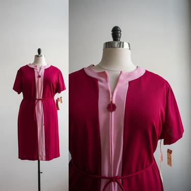 Vintage 1970s Cocktail Dress / Vintage Mod Dress XL / Maroon Vintage Dress / Vintage 70s Plus Sized Dress / Plus Size VTG / 70s Dress XL by milkandice