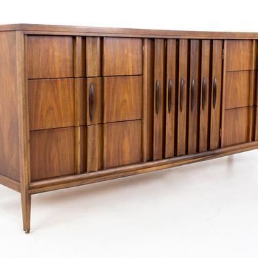 Thomasville Brutalist Mid Century Walnut 9 Drawer Lowboy Dresser - mcm by ModernHill