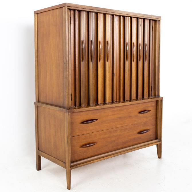 Thomasville Brutalist Mid Century Walnut Armoire Gentlemans Chest Highboy Dresser - mcm by ModernHill