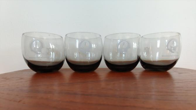 Vintage NFL Redskins Smoked Glass Roly Poly Tumbler - Set of 4 by ModandOzzie
