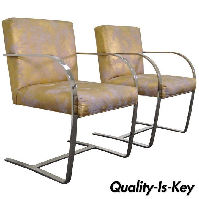 Pair of Mid Century Modern Cy Mann Flatbar Chrome Brno Style Cantilever Chairs