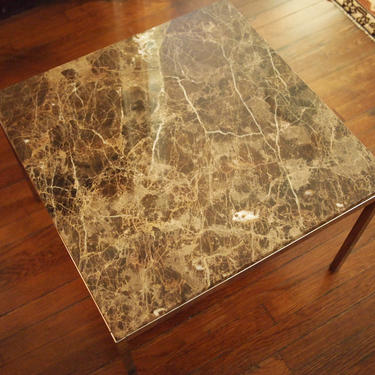 """Florence KNOLL Side End Coffee TABLE, MARBLE top 24"""" square 17"""" high, Danish Mid-Century Modern Bauhaus eames era, 2 Available by refugegallery"""