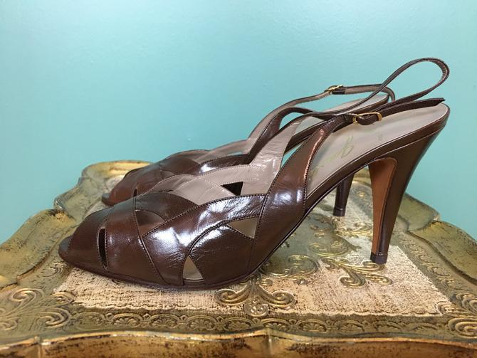 garolini shoes, 1980s high heels, vintage shoes, deadstock shoes, brown leather, strappy heels, open toe, sling back, size 8 9, Italian, nwt by BlackLabelVintageWA