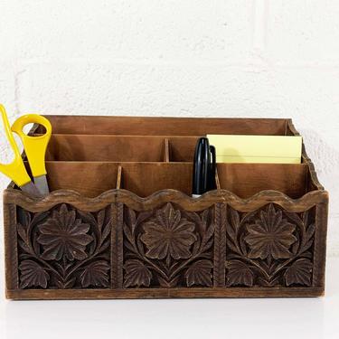 True Vintage Lerner Desk Organizer Letter Holder Faux Bois Dark Brown Boho Retro Storage Plastic Container Office Crafts by CheckEngineVintage