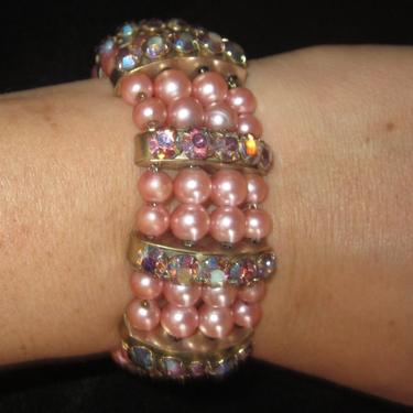 Vintage Faux Pink Pearl Beads and Aurora Borealis Rhinestone Multistrand Bracelet-Pretty in Pink by LazyDogAntiqueStore