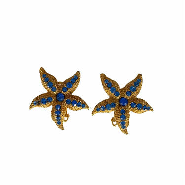 Starfish Clip- on Earrings with blue Rhinestones by InstantVintage78
