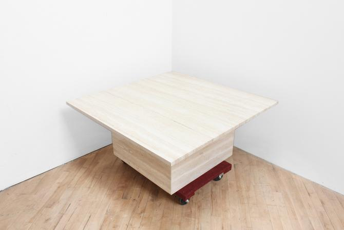 Modern Travertine Coffee Table Mid Century Square Cube Plinth Marble Table Vintage by 330ModernAntique