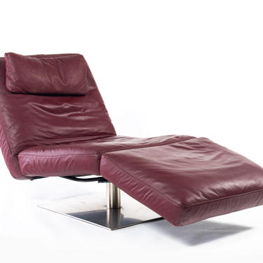 Natuzzi Chaise Lounge Chair in Rich Ox Blood Leather, Zeta Model by ABTModern