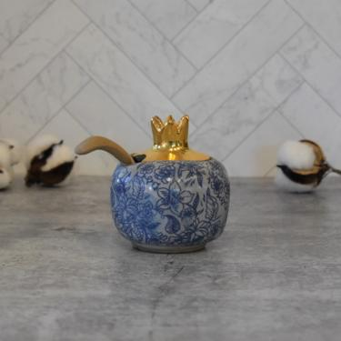 pomegranate salt cellar , ceramic salt pig , floral and gold finish by claylicious