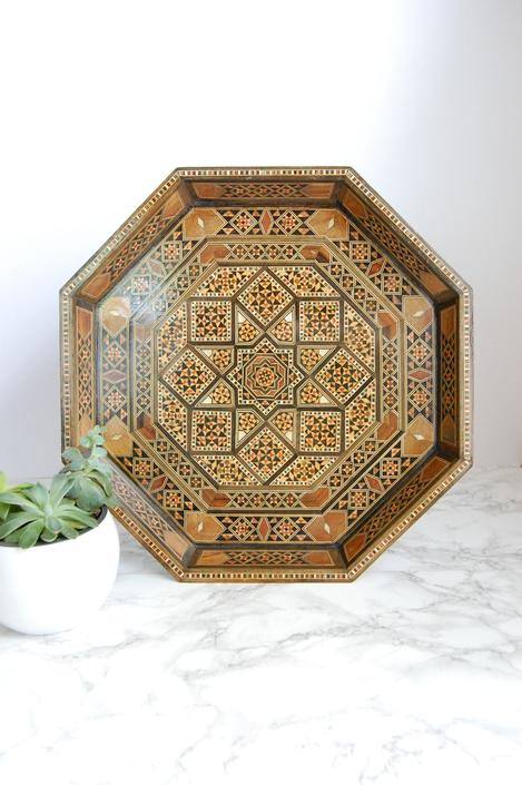 Vintage Inlay Tray Octagon Tray Wood Tray Middle Eastern Decor Boho Style by PursuingVintage1