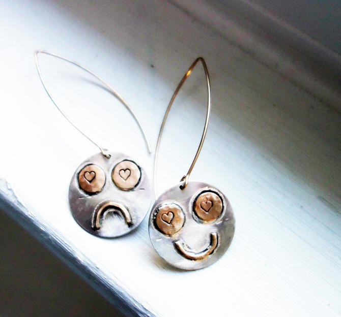 Happy and Sad (at the same time) Sterling Silver and 14k gold filled happy face sad face dangle earrings handmade by RachelPfefferDesigns