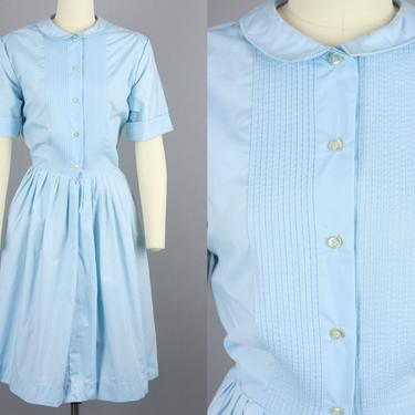 1960s NOS Shirtwaist Dress   Vintage 60s Light Blue Full Skirt Short Sleeve Dress   large by RelicVintageSF