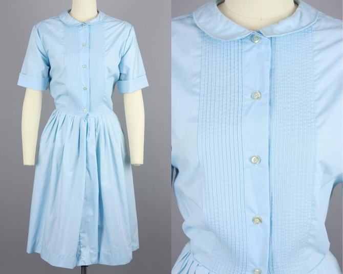 1960s NOS Shirtwaist Dress | Vintage 60s Light Blue Full Skirt Short Sleeve Dress | large by RelicVintageSF