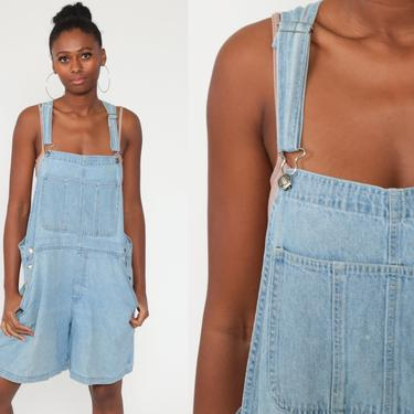 Denim Overall Shorts xl Jean Overalls 90s Grunge Jean Pocket Bibs Blue Streetwear Woman 1990s Vintage Cargo Extra Large xl by ShopExile