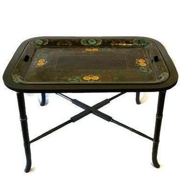 Hollywood Regency Faux Bamboo Tole Tray Coffee Table by ModernPicks