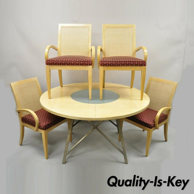 Drexel Heritage Studio Contemporary Modern Blonde Wood Dining Set Table 4 Chairs
