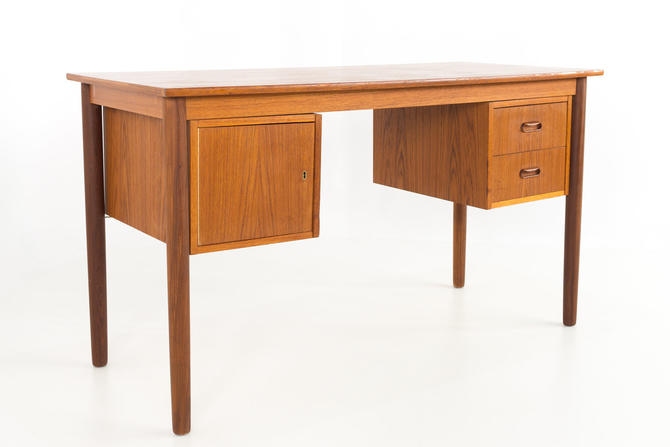 Arne Vodder Style Danish Teak 2 Sided Mid Century Desk - mcm by ModernHill