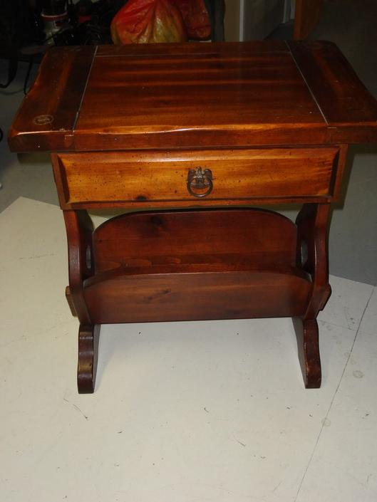 SOLD - Table with a drawer and a magazine rack at the bottom.  Great side table or night stand.