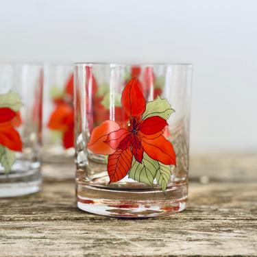 Poinsettia Lowball Glasses Set of 4 | Red Flower Low Ball Glasses | Bar Glasses | Vintage Bar | Festive Bar Gift by PiccadillyPrairie